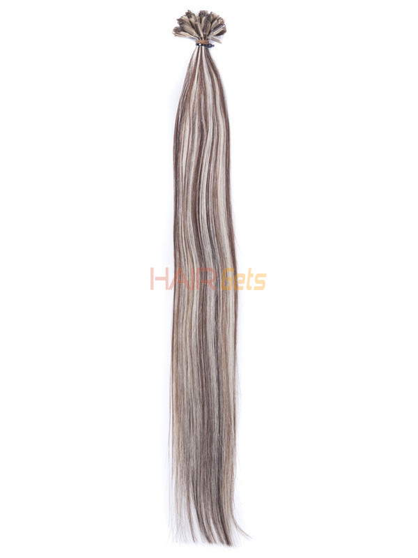 50 Piece Silky Straight Remy Nail Tip/U Tip Hair Extensions Brown/Blonde (#P4/22) 1