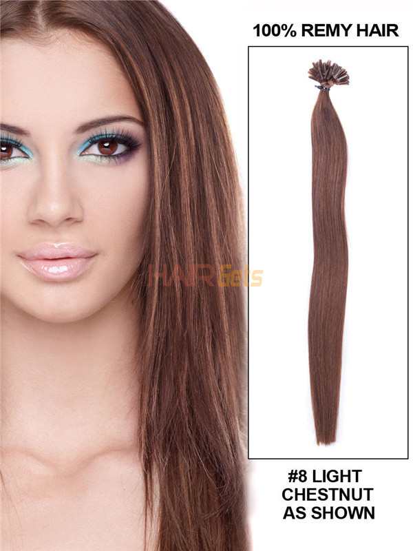 50 Piece Silky Straight Nail Tip/U Tip Remy Hair Extensions Light Chestnut(#8) 0