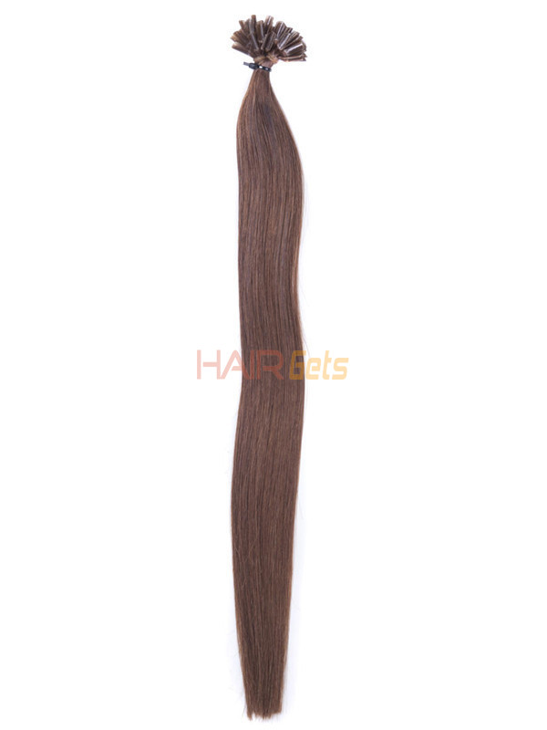 50 Piece Silky Straight Nail Tip/U Tip Remy Hair Extensions Light Chestnut(#8) 1