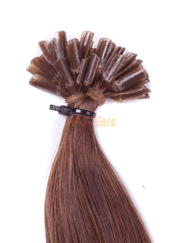 50 Piece Silky Straight Nail Tip/U Tip Remy Hair Extensions Light Chestnut(#8) 2