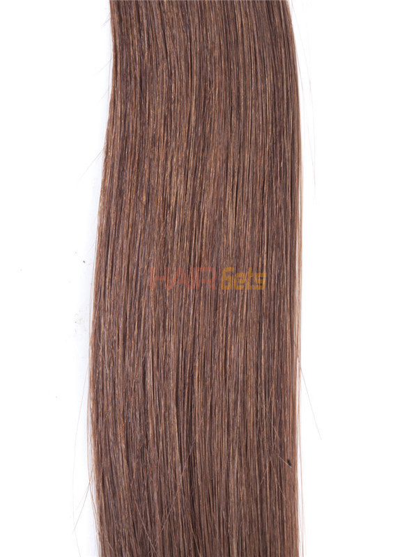 50 Piece Silky Straight Nail Tip/U Tip Remy Hair Extensions Light Chestnut(#8) 3