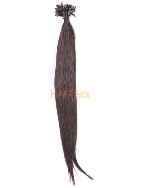 50 Piece Silky Straight Remy Nail Tip/U Tip Hair Extensions Medium Brown(#4) 1