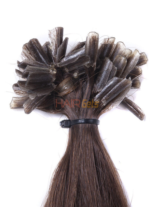 50 Piece Silky Straight Remy Nail Tip/U Tip Hair Extensions Medium Brown(#4) 2