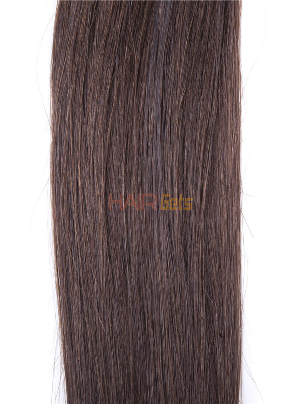 50 Piece Silky Straight Remy Nail Tip/U Tip Hair Extensions Medium Brown(#4) 3