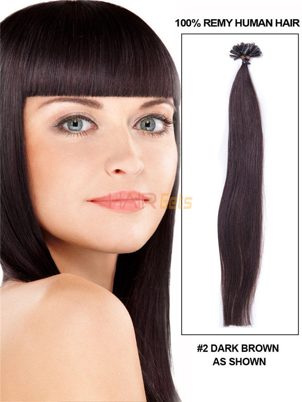 50 Piece Silky Straight Remy Nail Tip/U Tip Hair Extensions Dark Brown(#2) 0