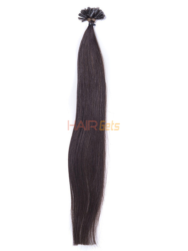 50 Piece Silky Straight Remy Nail Tip/U Tip Hair Extensions Dark Brown(#2) 2