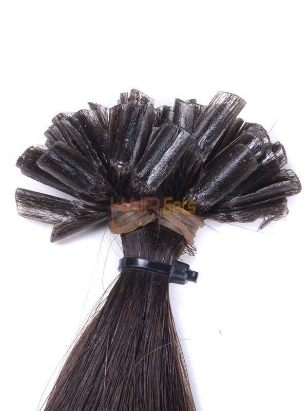 50 Piece Silky Straight Remy Nail Tip/U Tip Hair Extensions Dark Brown(#2) 3