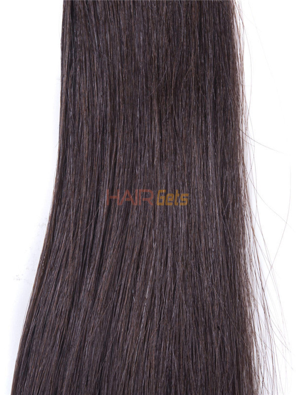 50 Piece Silky Straight Remy Nail Tip/U Tip Hair Extensions Dark Brown(#2) 4