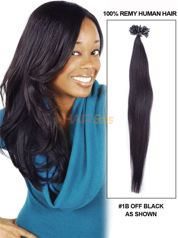 50 Piece Silky Straight Remy Nail Tip/U Tip Hair Extensions Natural Black(#1B) 0