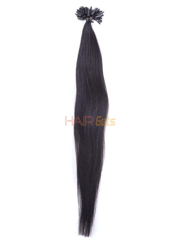 50 Piece Silky Straight Remy Nail Tip/U Tip Hair Extensions Natural Black(#1B) 2