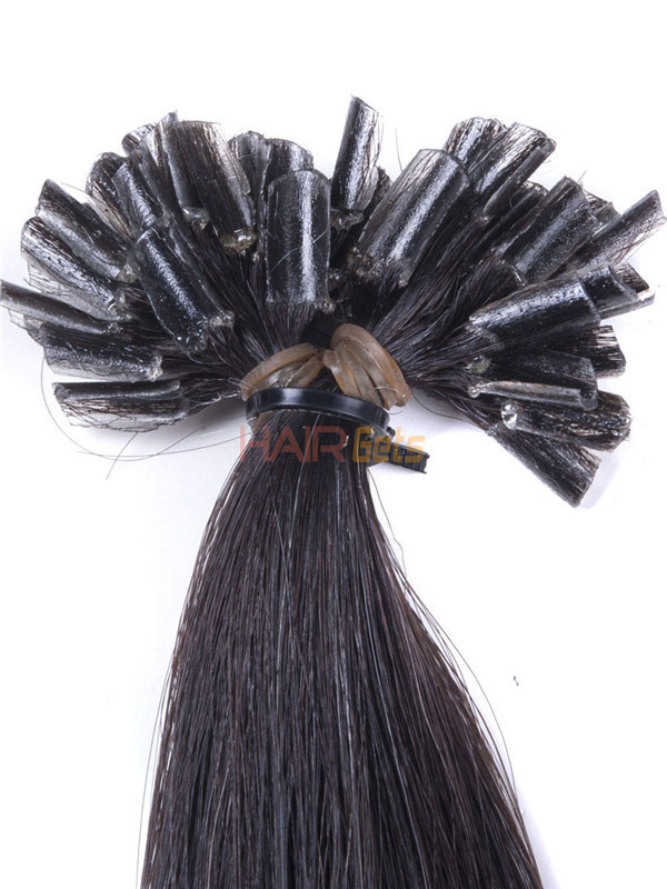 50 Piece Silky Straight Remy Nail Tip/U Tip Hair Extensions Natural Black(#1B) 3