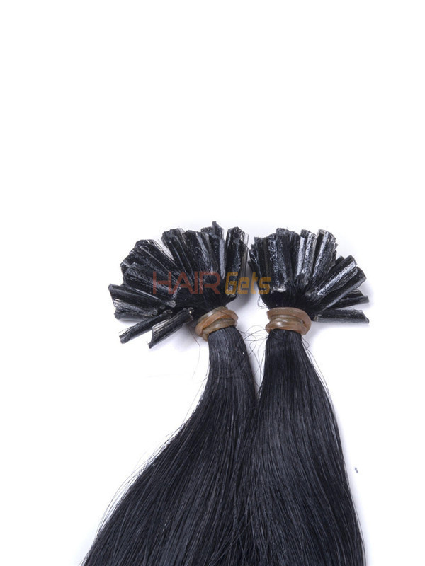 50 Piece Silky Straight Remy Nail Tip/U Tip Hair Extensions Jet Black(#1) 3