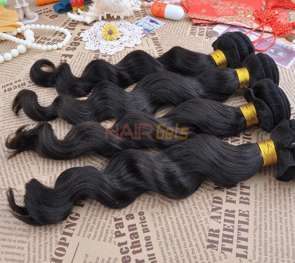 7A Virgin Brazilian Hair Extensions Loose Wave Natural Black 0