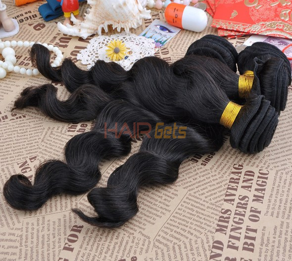 7A Virgin Brazilian Hair Extensions Loose Wave Natural Black 1