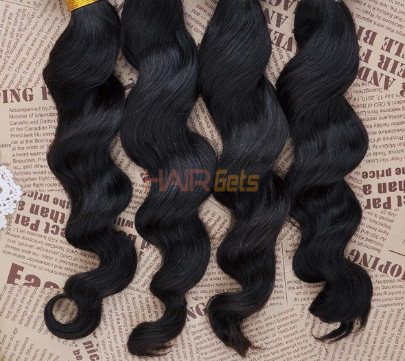 7A Virgin Brazilian Hair Extensions Loose Wave Natural Black 3