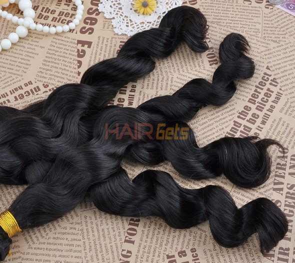 7A Virgin Brazilian Hair Extensions Loose Wave Natural Black 4