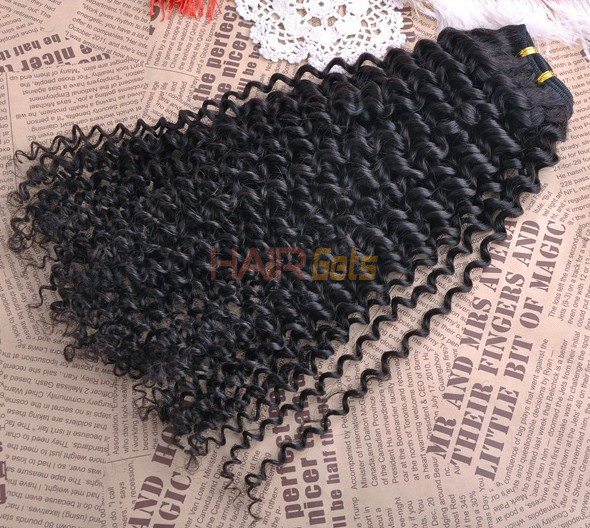 7A Virgin Brazilian Hair Extensions Kinky Curly Natural Black 0