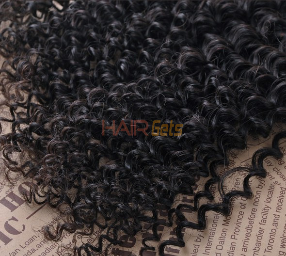 7A Virgin Brazilian Hair Extensions Kinky Curly Natural Black 2