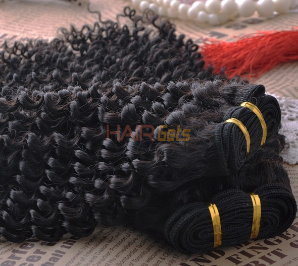 7A Virgin Brazilian Hair Extensions Kinky Curly Natural Black 3