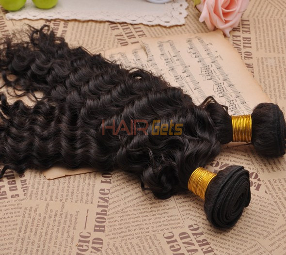 7A Virgin Brazilian Hair Extensions Water Wave Natural Black 0