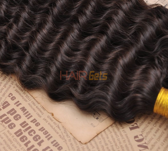 7A Virgin Brazilian Hair Extensions Water Wave Natural Black 2