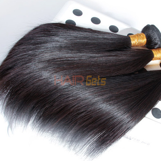 4 Bundles Natural Black 8A Silky Straight Virgin Brazilian Hair Weave 0