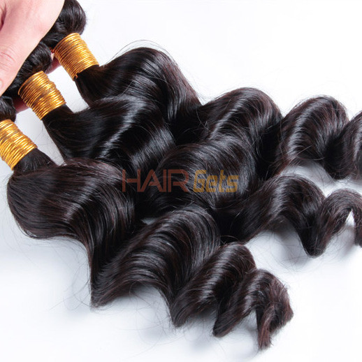 Virgin Brazilian Loose Wave Hair Bundles Natural Black 1pcs 0