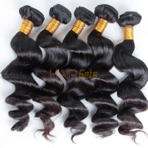 4 pcs/lot 8A Virgin Brazilian Hair Loose Wave Weave Natural Black 0
