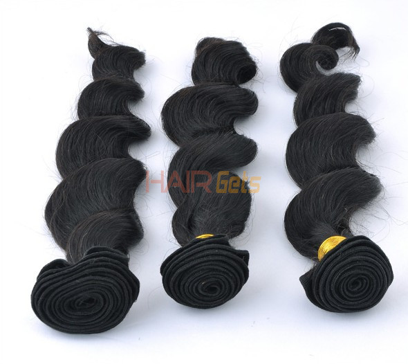 7A Virgin Indian Hair Extensions Loose Wave Natural Black 0