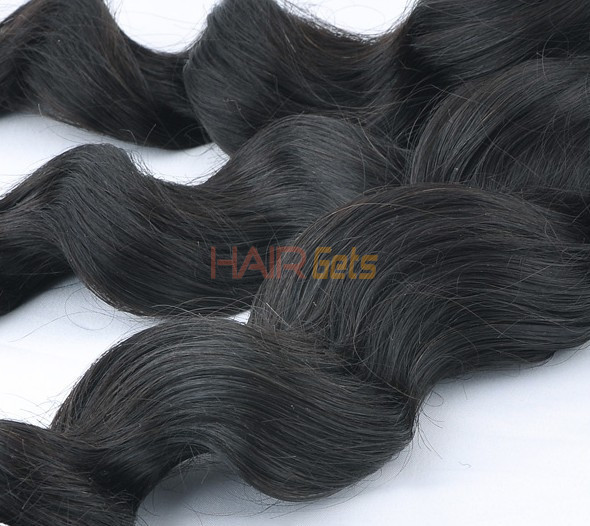 7A Virgin Indian Hair Extensions Loose Wave Natural Black 1