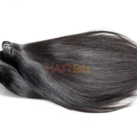 2pcs 7A Silky Straight Virgin Indian Hair Weave Natural Black 0