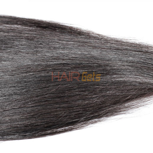 2pcs 7A Silky Straight Virgin Indian Hair Weave Natural Black 1