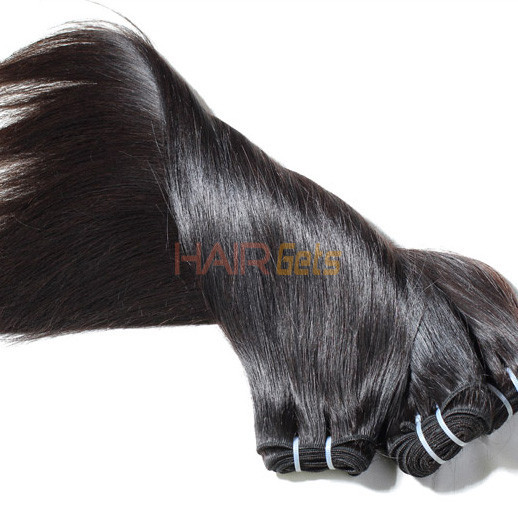 2pcs 7A Silky Straight Virgin Indian Hair Weave Natural Black 2