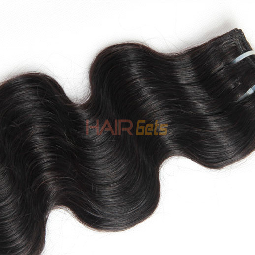 2pcs 7A Body Wave Virgin Indian Hair Weave Natural Black 1