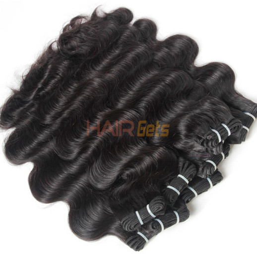 2pcs 7A Body Wave Virgin Indian Hair Weave Natural Black 2