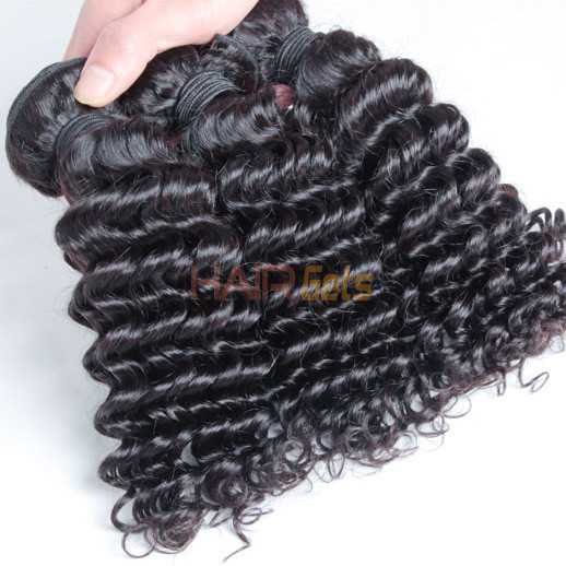 2 pcs 7A Deep Wave Malaysian Virgin Hair Weave Natural Black 1