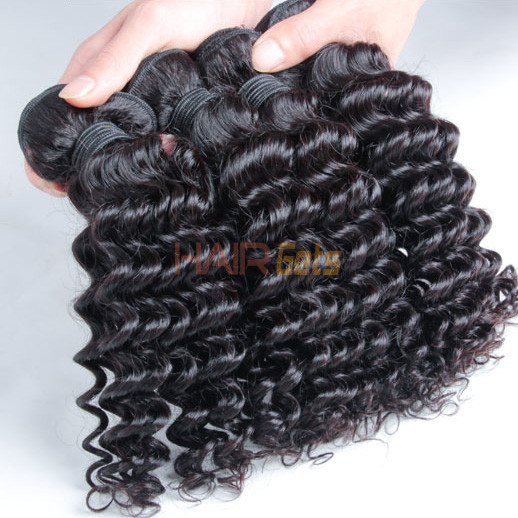 2 pcs 7A Deep Wave Malaysian Virgin Hair Weave Natural Black 2