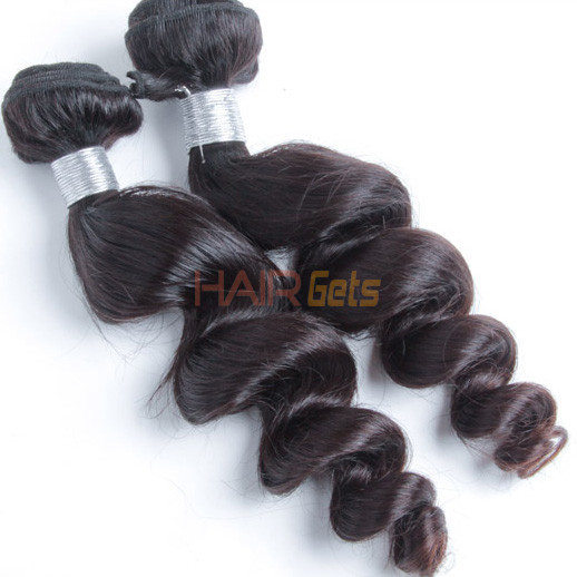 1 bundle 7A Loose Wave Peruvian Virgin Hair Weave Natural Black 0