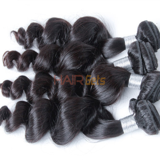 1 bundle 7A Loose Wave Peruvian Virgin Hair Weave Natural Black 2