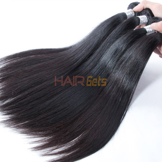 1 pcs 7A Straight Virgin Peruvian Hair Weave Natural Black 1