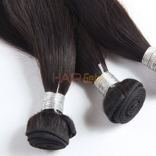 1 pcs 7A Straight Virgin Peruvian Hair Weave Natural Black 2