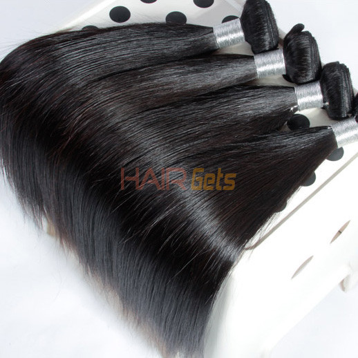 4 bundles 7A Virgin Peruvian Hair Silky Straight Weave Natural Black 0
