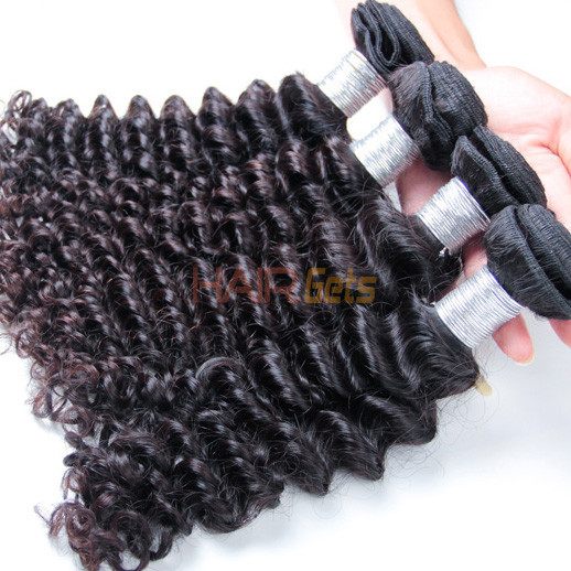 4 pcs 7A Deep Wave Virgin Peruvian Hair Weave Natural Black 0