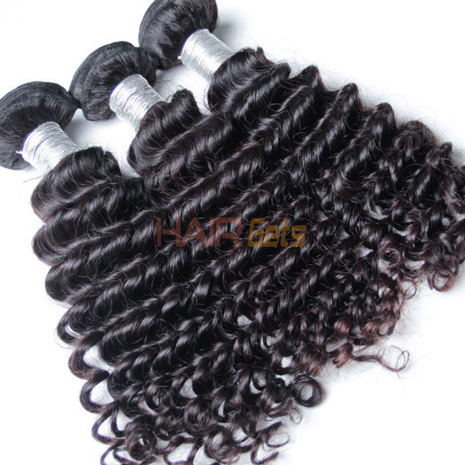 4 pcs 7A Deep Wave Virgin Peruvian Hair Weave Natural Black 1