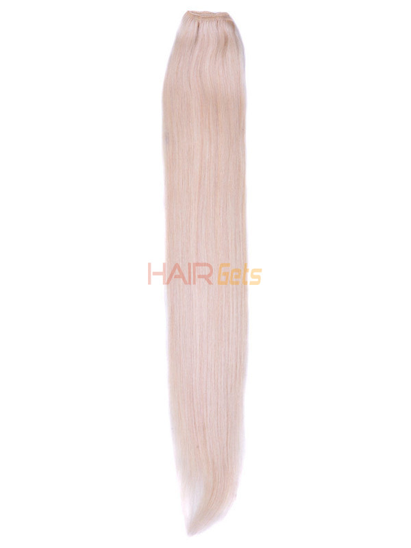 Silky Straight Virgin Indian Remy Hair Extensions Bleach White Blonde(#613) 0