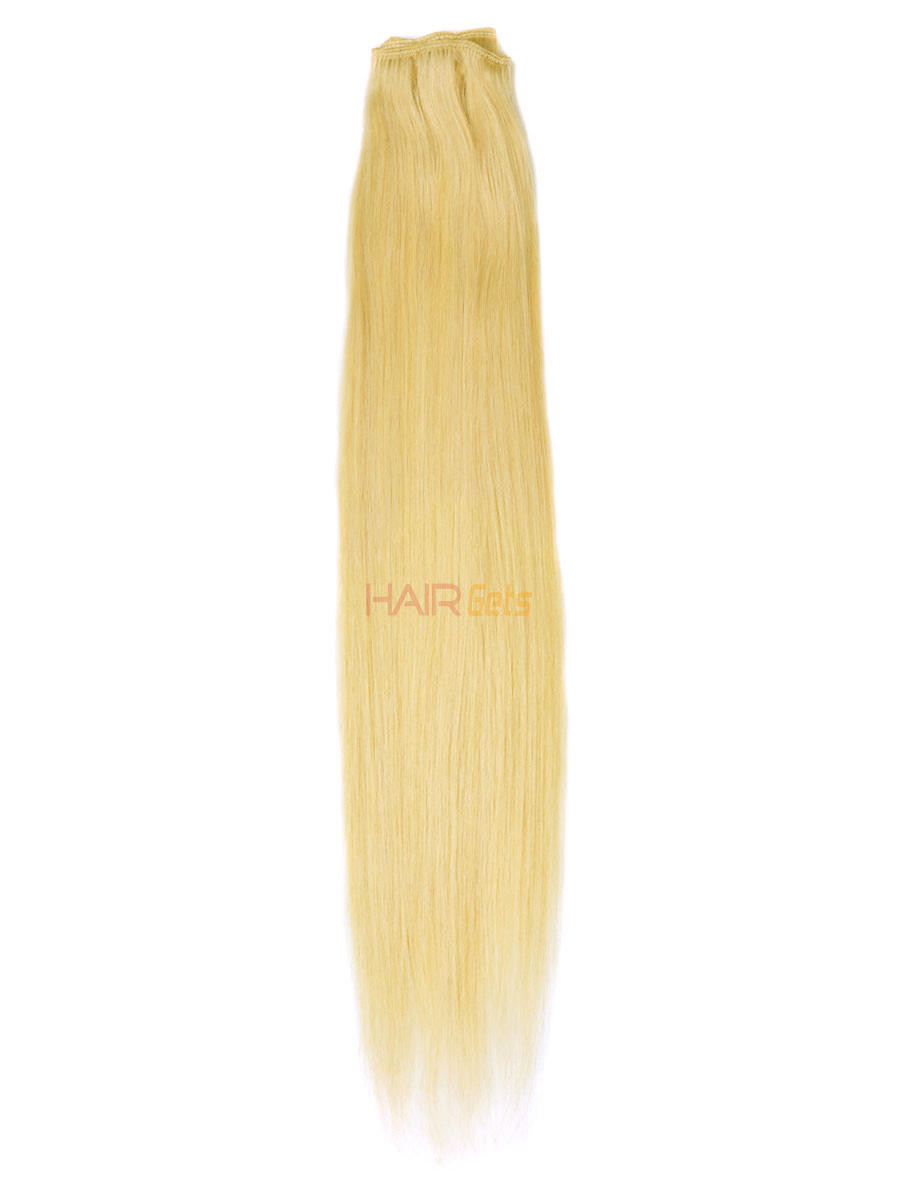 Silky Straight Virgin Indian Remy Hair Extensions Medium Blonde(#24) 0