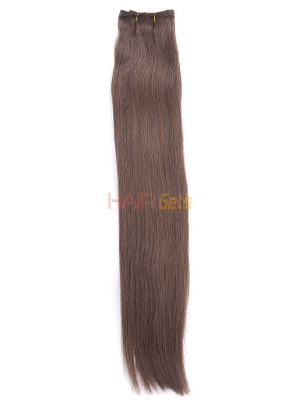 Silky Straight Virgin Indian Remy Hair Extensions Light Chestnut(#8) 0