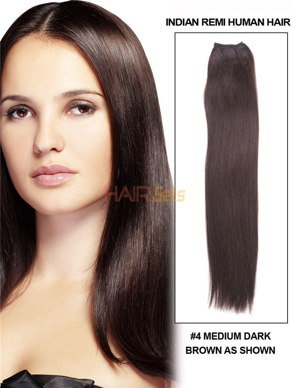 Silky Straight Virgin Indian Remy Hair Extensions Medium Brown(#4) 0