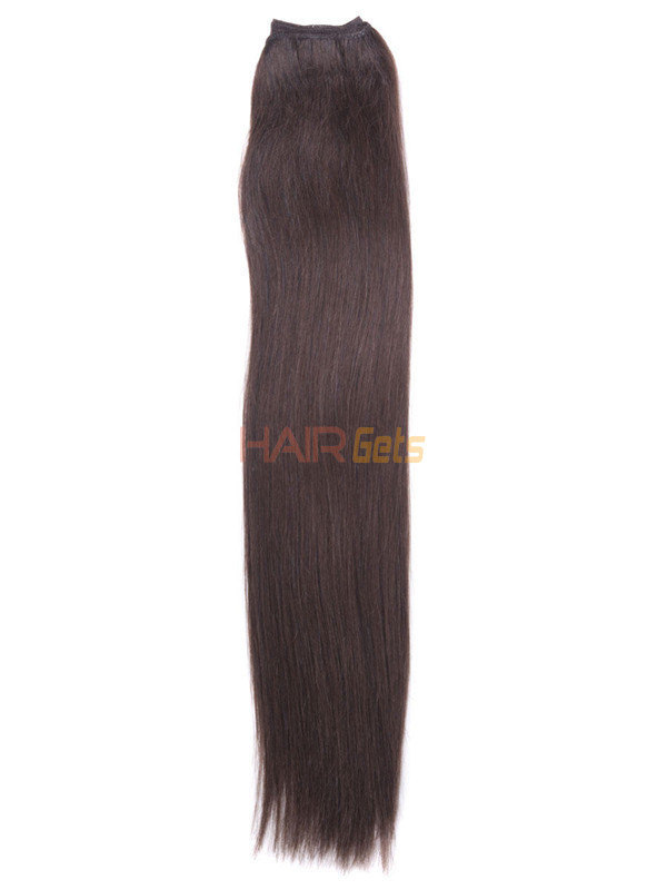 Silky Straight Virgin Indian Remy Hair Extensions Medium Brown(#4) 1