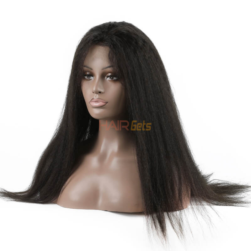 Shiny Kinky Straight Lace Front Wig, Amazing Virgin Hair Wigs 10-26 inch 0